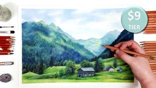 Landscape in Coloured Pencil