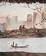 paysage fleuve en ville - aquarelle sépia - 2016