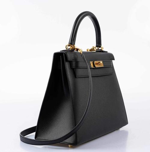 Hermès Kelly 28 Sellier Black Noir Epsom Ghw side.jp