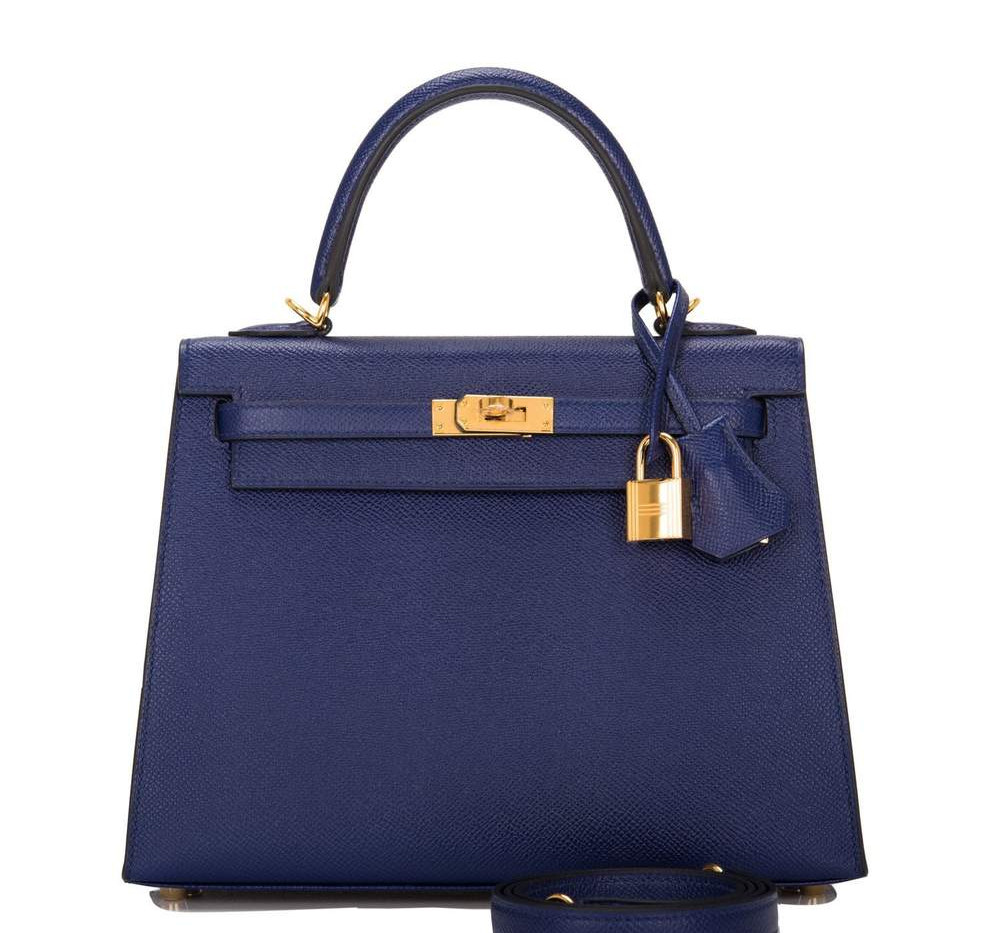 Kelly 25cm Bleu Encre Epsom Sellier Gold