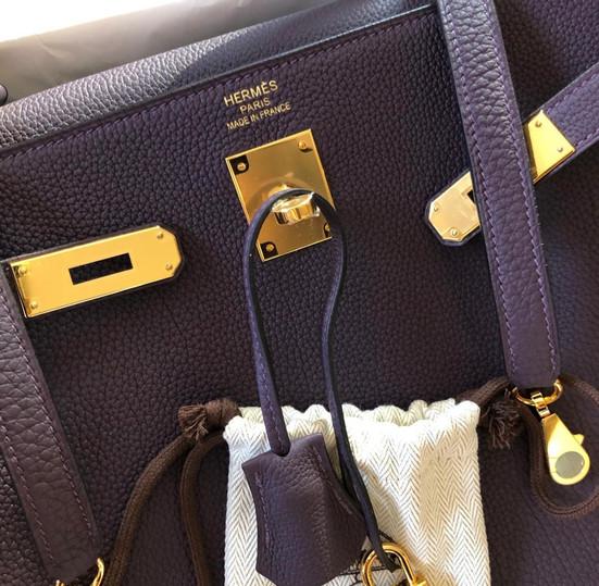 Kelly Handbag Raisin Togo with Gold Hardware