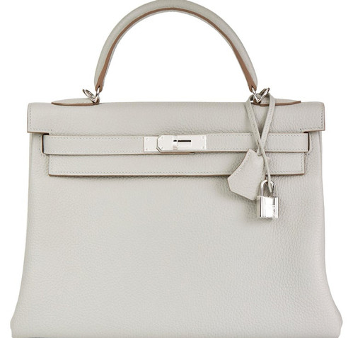 kelly 28 gris perle Taurillon Clemence P