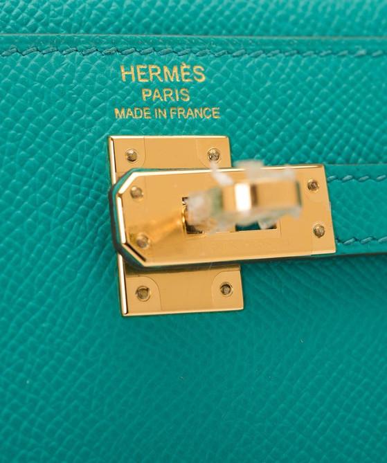 Kelly 32 Vert Verone Epsom Sellier Gold
