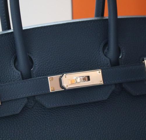 Hermes Birkin 30 Bleu Nuit Rose Gold Duke of Luxury