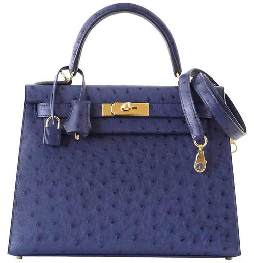 Kelly 28 Sellier Bag Ostrich Blue Iris G