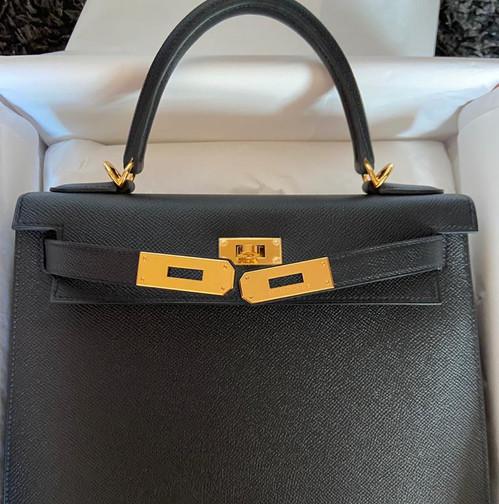 Hermès brand new Kelly 28 Black Noir Epsom Gold Hardware Y