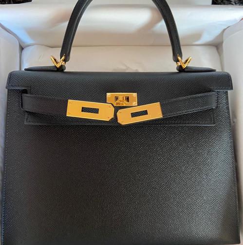 Hermès K28 black epsom gold hardware ghw