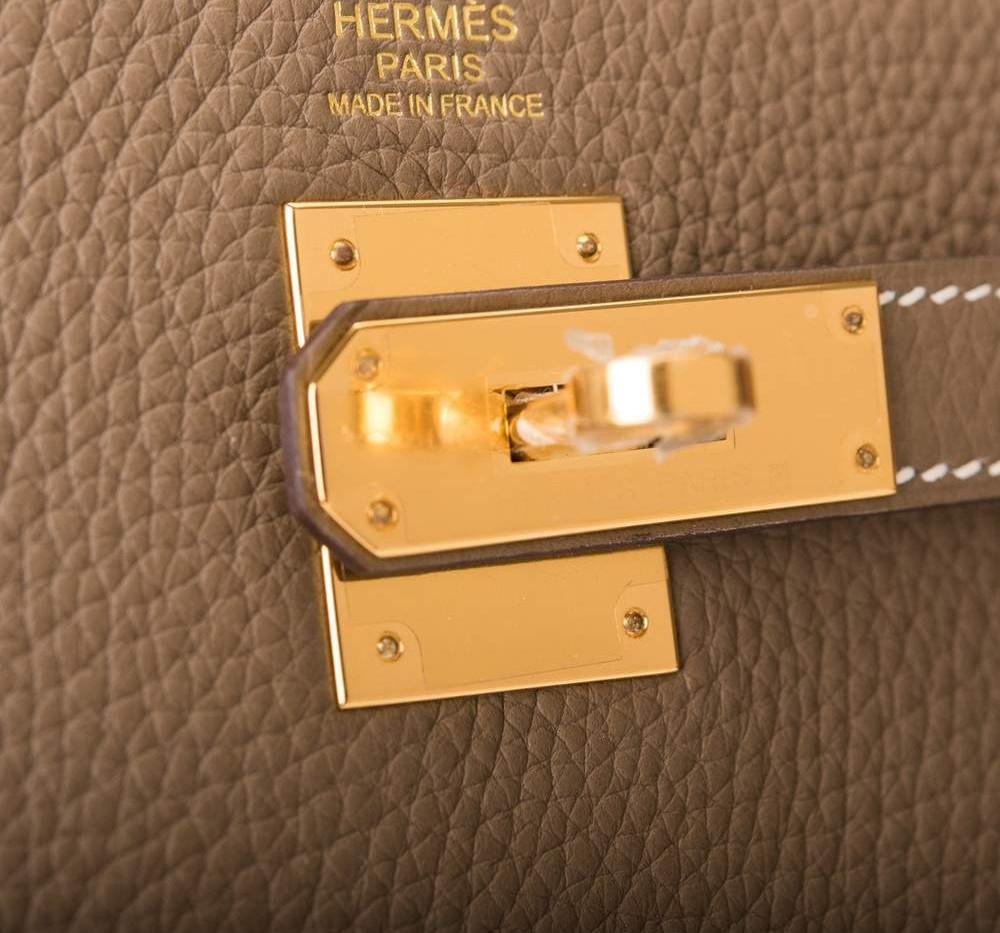 Kelly 35cm Etoupe Clemence Retourne Gold