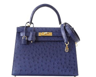 Kelly 28 Sellier Bag Ostrich Blue Iris G