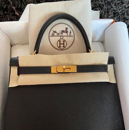 Hermès K28 Black Noir Epsom Gold Hardware Stamp Y