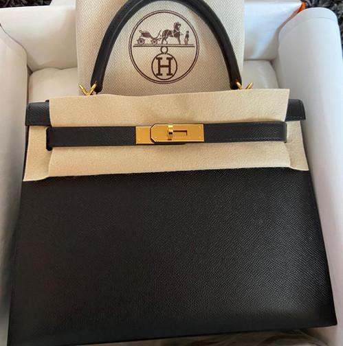 Hermès kelly 28 Black epsom gold hardware ghw Stamp Y