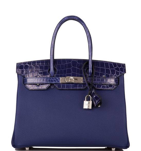 Birkin 30 touch alligator shiny bleu enc