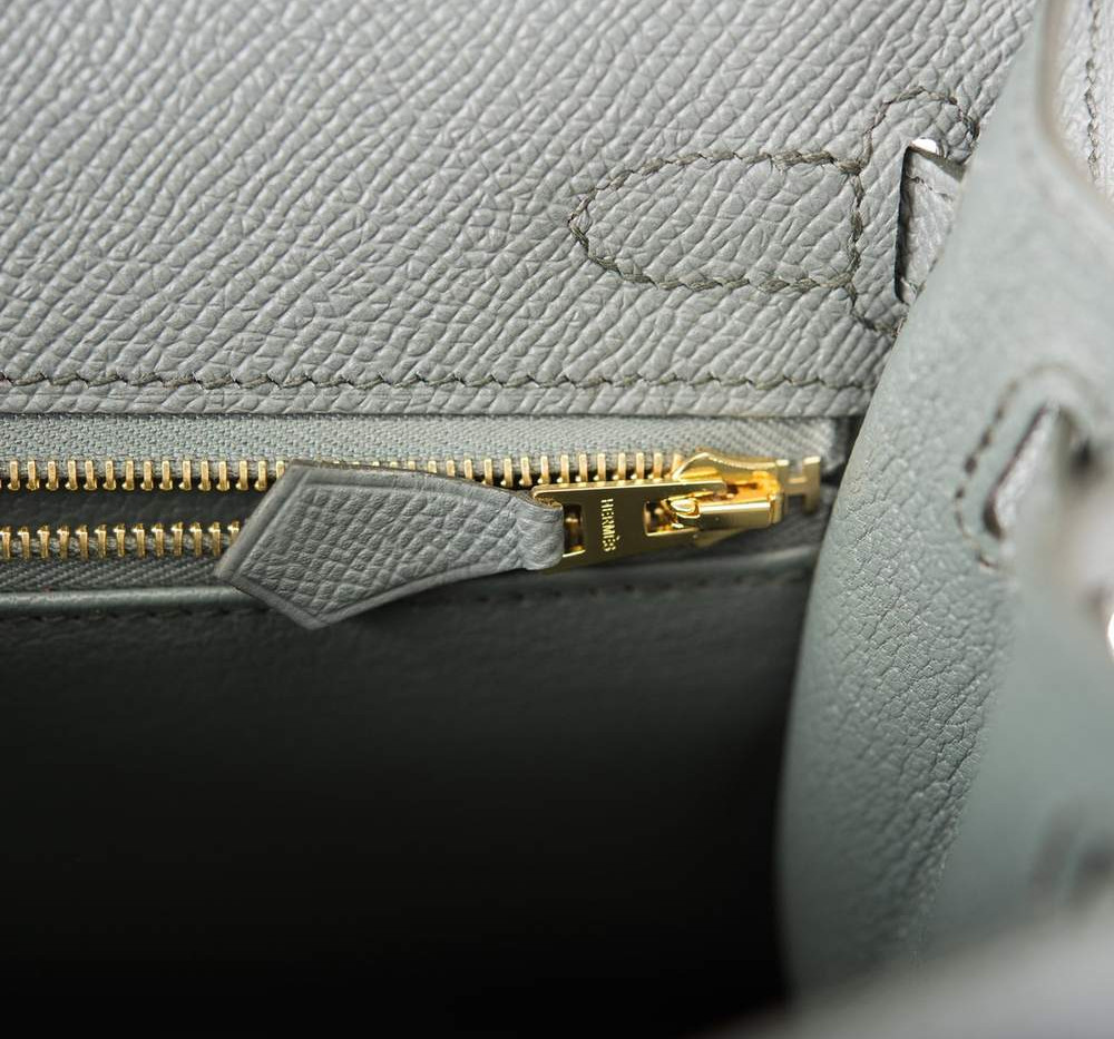 Kelly 25 Vert Amande Epsom Gold Hardware