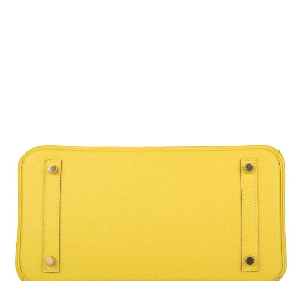 Birkin 30 lime epsom Gold Hardware botto