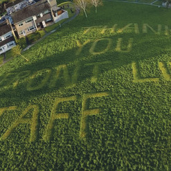 """Thank You Front Line Staff"" Mowed Into Grass"