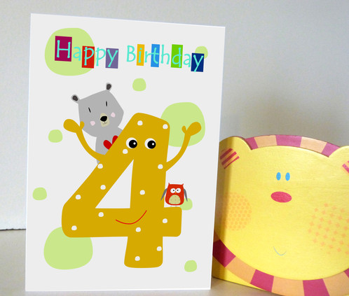 4th birthday card kids birthday card – What to Write in a Kids Birthday Card