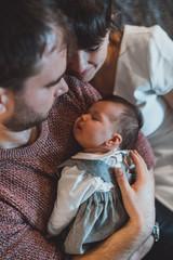 Jolie séance photo naissance à domicile à Nantes