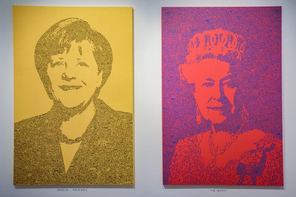 Angela Merkel and Queen Elizabeth Mr Doodle