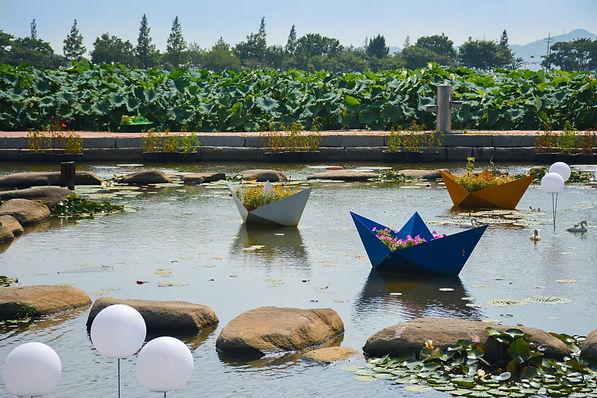 Muan White Lotus Festival boats fowers
