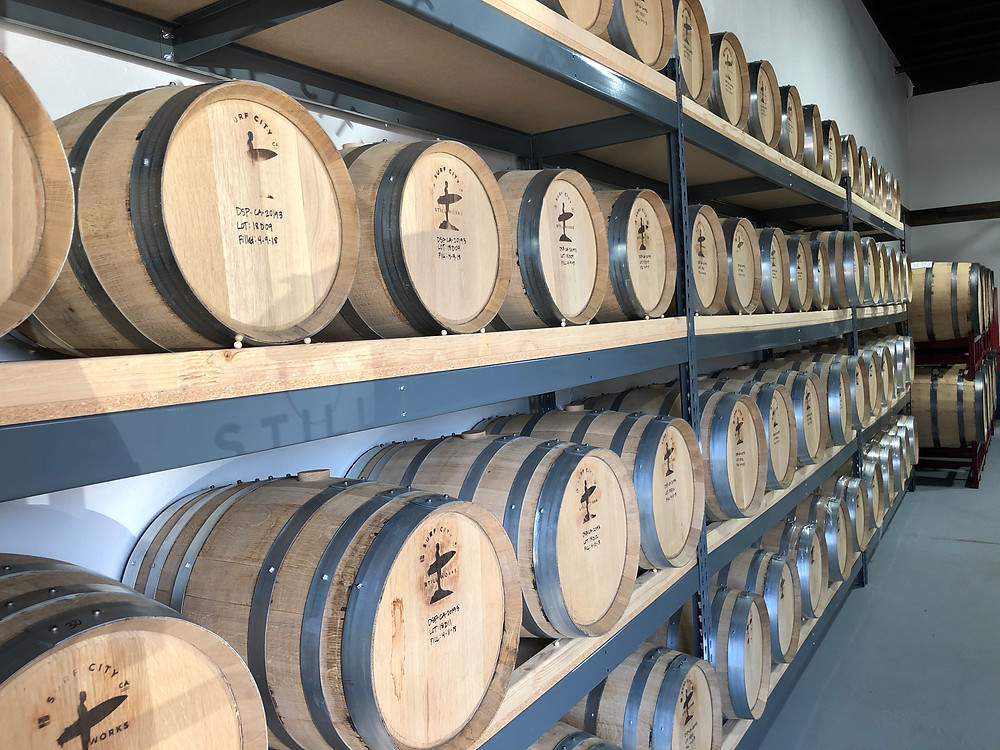 Aging whiskey barrels