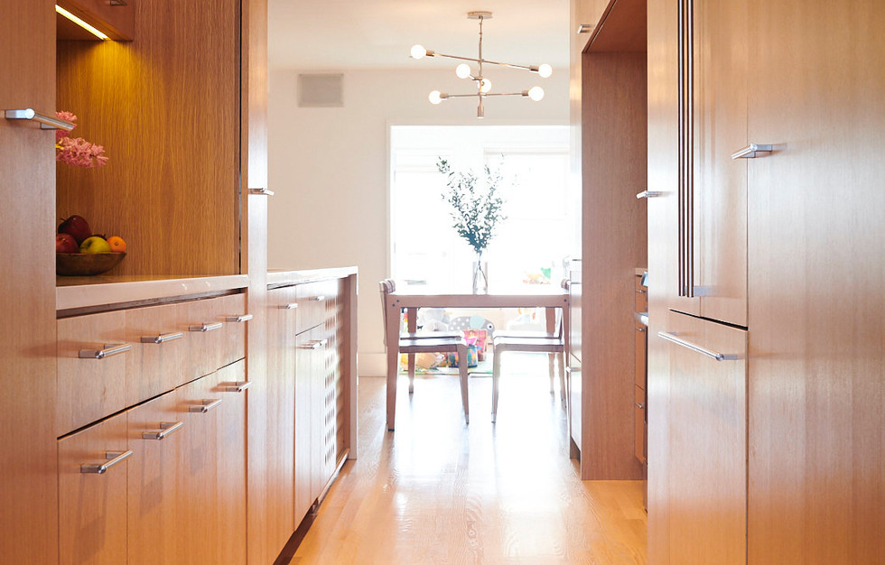 Custom appliance panels allow for a strealined hallway from the front to the back of the apt.