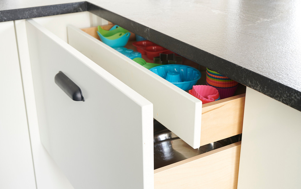 Smaller drawers within bigger drawers can help with organization