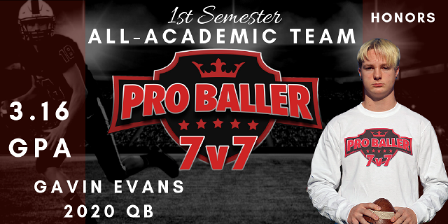 Gavin Evans Pro Baller 7v7 All-Academic Team