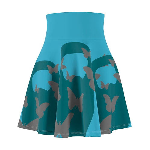 Kettlebell aquamarine butterfly Women's Skater Skirt 2 - turquoise