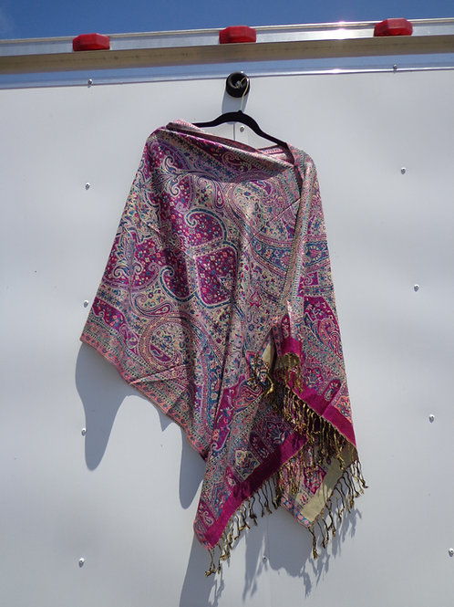 pink and cream petite flower poncho