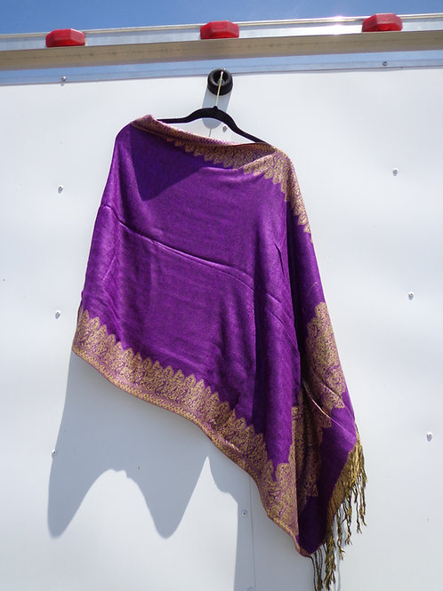 Purple and gold border poncho