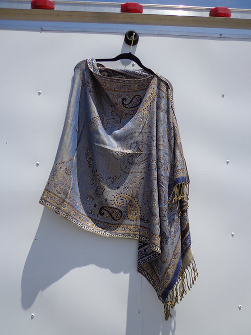 iridescent light blue and brown tapestry poncho