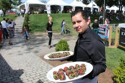 Pedro modeling the strawberries!