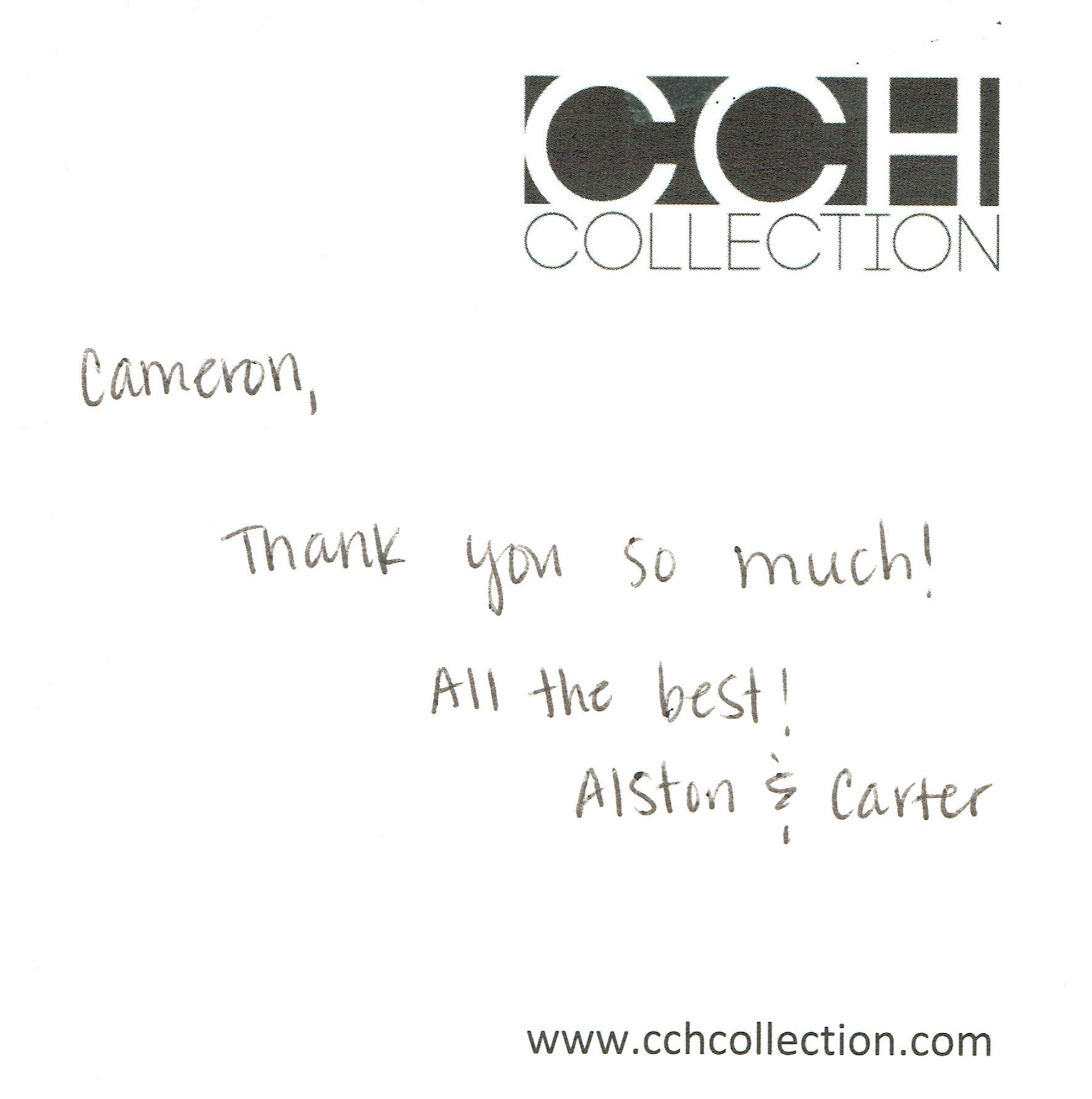 Thank you note - Alston & Carter