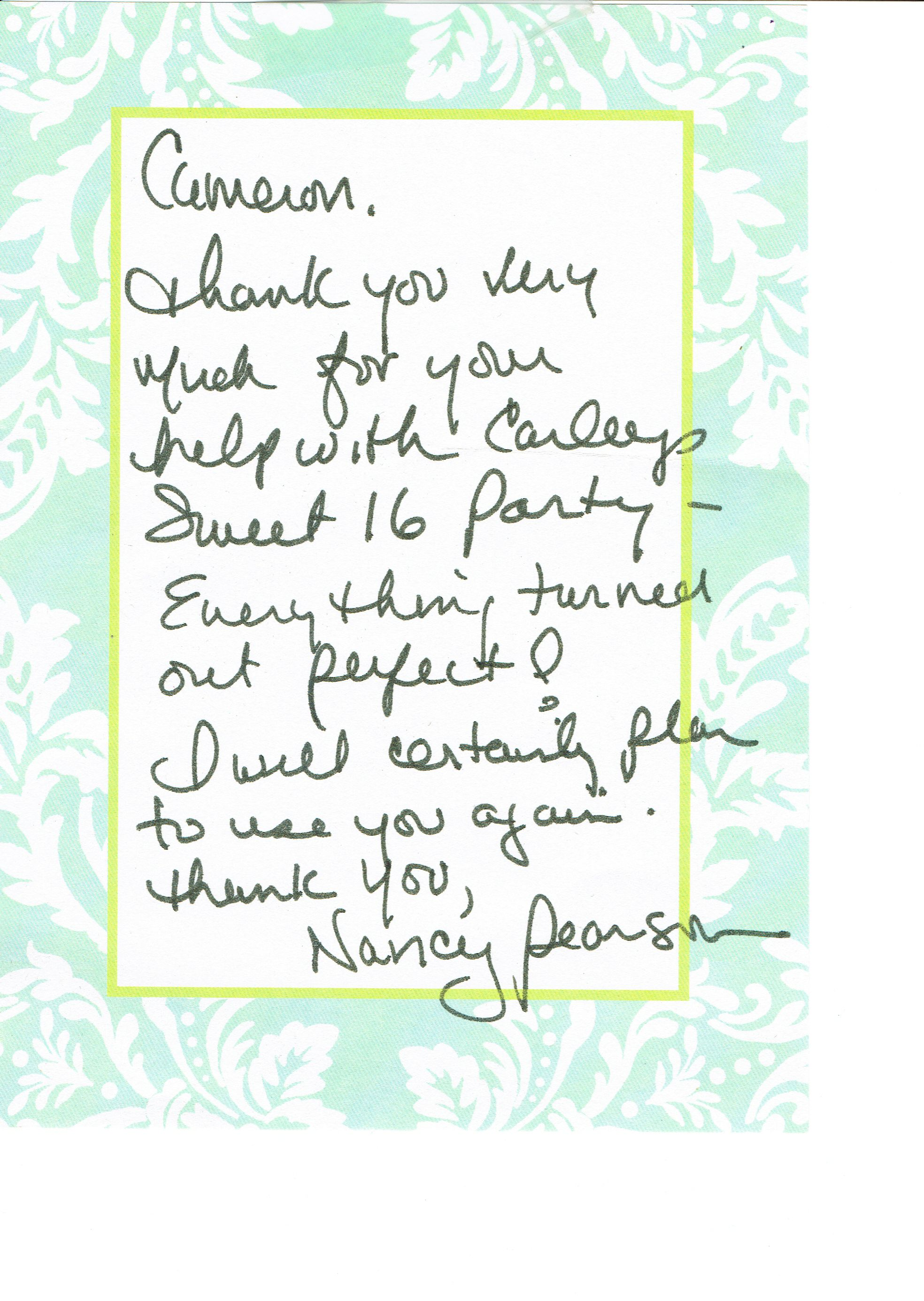 Thank you note - Nancy Pearson