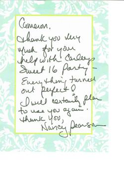 Thank you note - Nancy Pearson