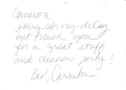 Thank you note - Carmita Alonso