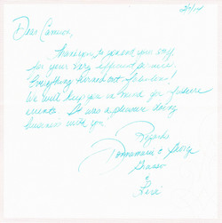 Thank you note - George Grasso