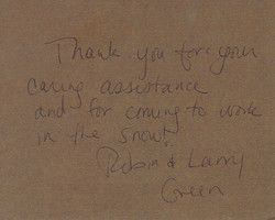 Thank you note - Robin & Larry Green