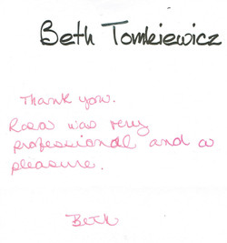 Thank you note - Beth Tomkiewicz