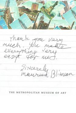 Thank you note - Maureen Blitman