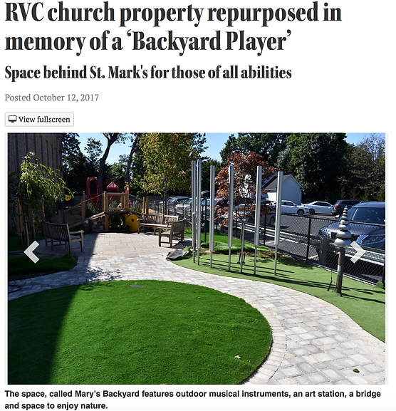 """Headline """"rvc church property repurposed in memory of a Backyard Player"""" with image of an empty park with outdoor musical instruments."""