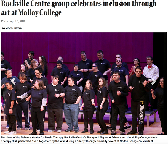 """Headline """"Rockville Centre group celebrates inclusion through art at Molloy College"""" with image of a large performance group dancing."""