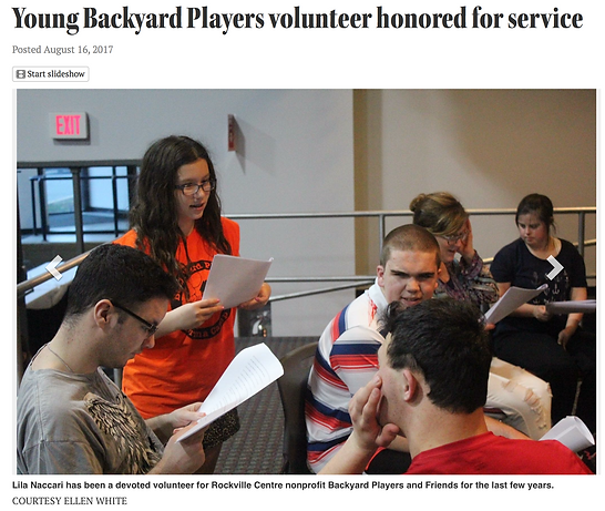 """Headline """"Young Backyard Player volunteer honored for community service."""" Several members of a theater class read scripts."""