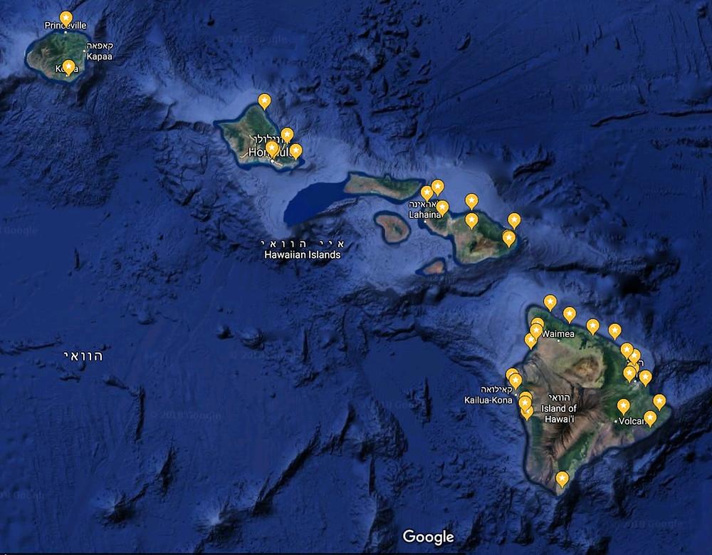 מפת הוואי google map  hawai  מקומות לראות בהוואי