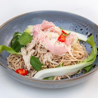 Miso Poached Chicken Soba noodles salad