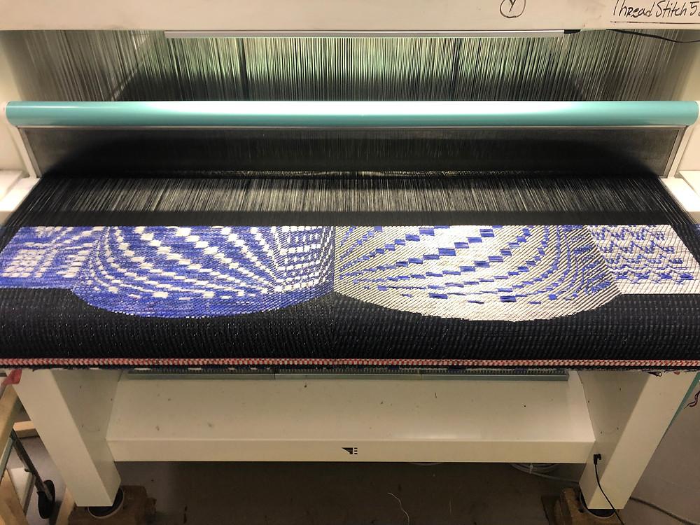 Marianne Fairbanks' work shown in progress on the loom.
