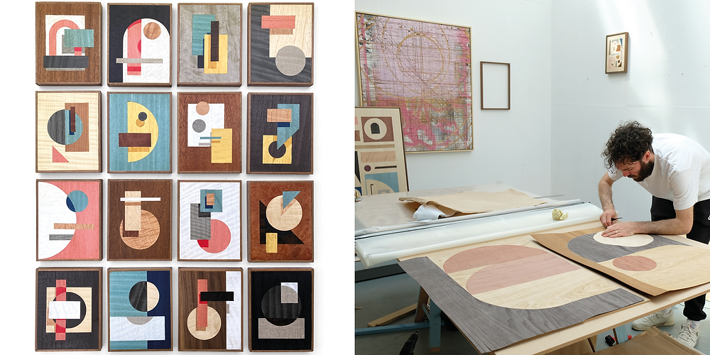 Images of works in veneer by contemporary artist Olly Fathers