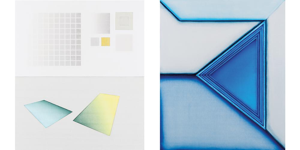(Left) Selma Parlour, Miniaturised Minimalism IV, 2019,(Right) Invented Vocabulary VII, 2018