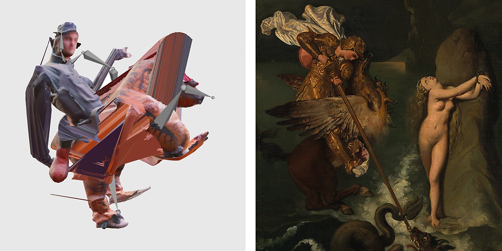 Left: James Rogers, 'Dinosaur Rider 1'. Right: (detail) Jean-Auguste-Dominique Ingres 'Angelica saved by Ruggiero', 1819-39 © The National Gallery, London