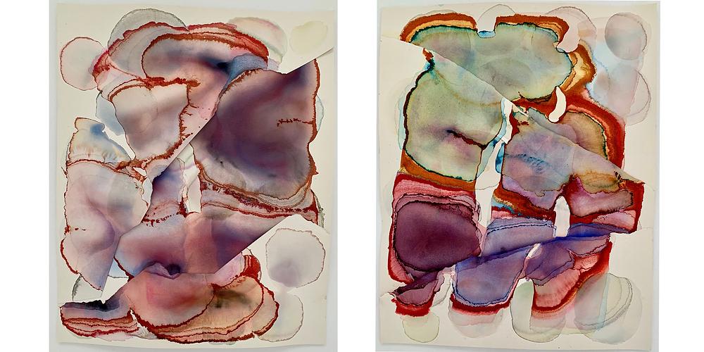 Barbara Nicholls, Slip-Fault series, watercolour